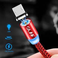 Магнитный кабель 4Sport USB OLAF Lightning LED Fast charging Red 1 м